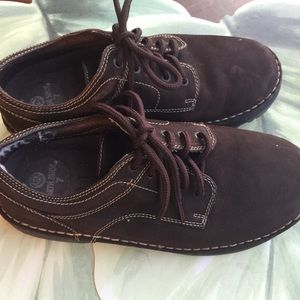 EARTH SHOES BROWN LACE UP LEATHER UPPER SIZE 7W